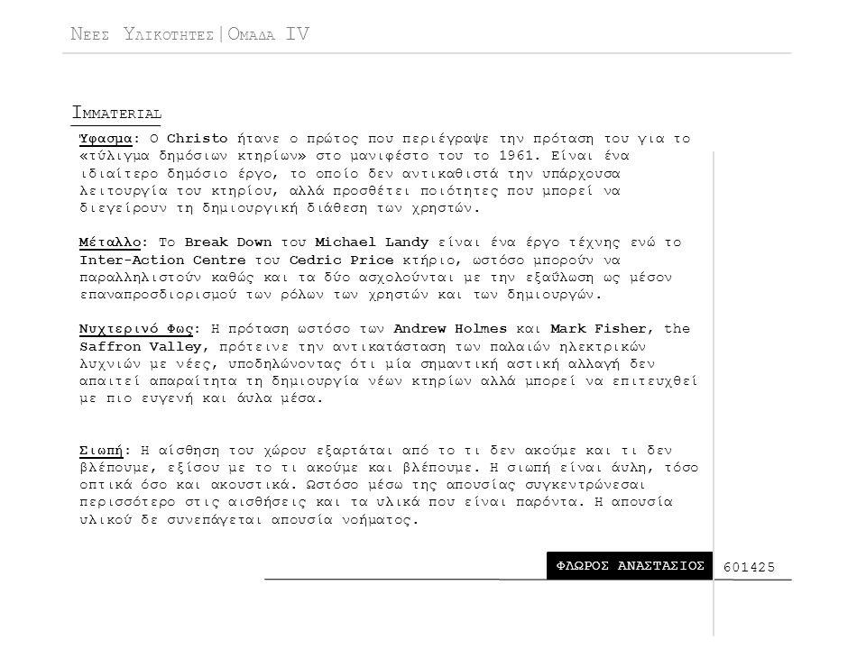 Ν ΕΕΣ Υ ΛΙΚΟΤΗΤΕΣ |Ο ΜΑΔΑ IV I MMATERIAL ΦΛΩΡΟΣ ΑΝΑΣΤΑΣΙΟΣ 601425 Ύφασμα: Ο Christo ήτανε ο πρώτος που περιέγραψε την πρόταση του για το «τύλιγμα δημόσιων κτηρίων» στο μανιφέστο του το 1961.