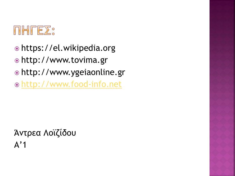  https://el.wikipedia.org  http://www.tovima.gr  http://www.ygeiaonline.gr  http://www.food-info.net http://www.food-info.net Άντρεα Λοϊζίδου Α'1