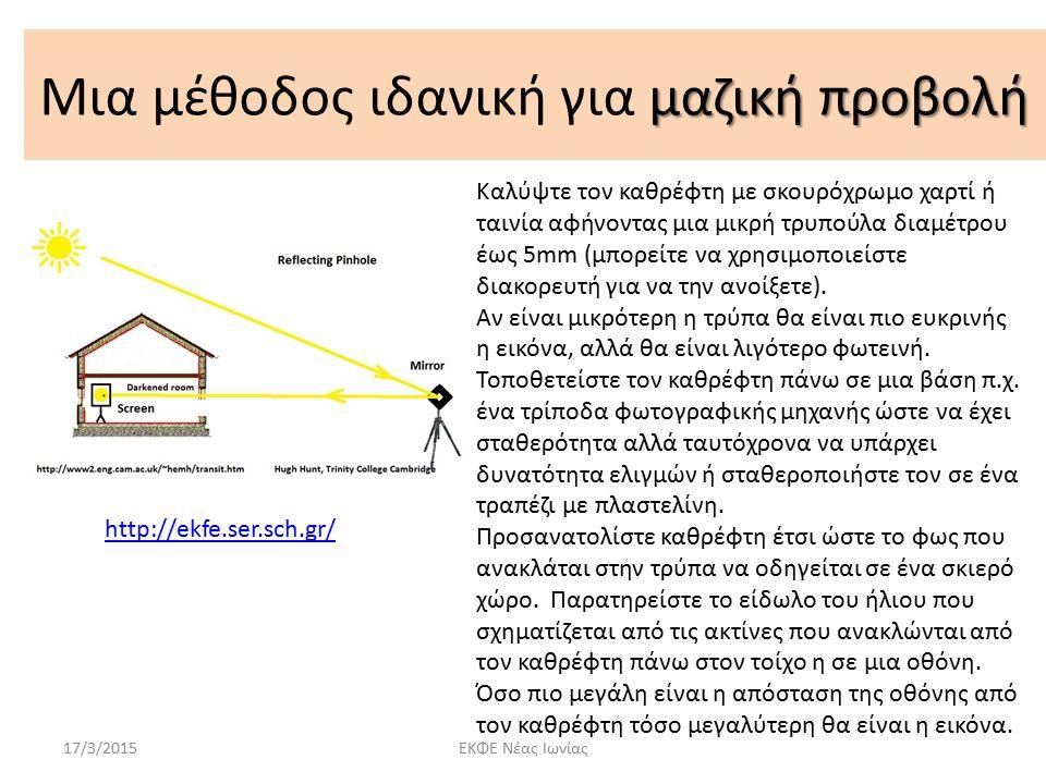 μαζική προβολή Μια μέθοδος ιδανική για μαζική προβολή 17/3/2015ΕΚΦΕ Νέας Ιωνίας Καλύψτε τον καθρέφτη με σκουρόχρωμο χαρτί ή ταινία αφήνοντας μια μικρή τρυπούλα διαμέτρου έως 5mm (μπορείτε να χρησιμοποιείστε διακορευτή για να την ανοίξετε).