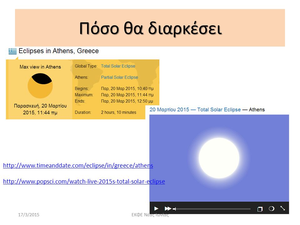 Πόσο θα διαρκέσει http://www.timeanddate.com/eclipse/in/greece/athens http://www.popsci.com/watch-live-2015s-total-solar-eclipse 17/3/2015ΕΚΦΕ Νέας Ιωνίας