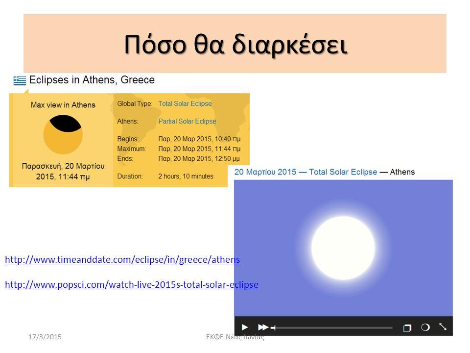 Πόσο θα διαρκέσει http://www.timeanddate.com/eclipse/in/greece/athens http://www.popsci.com/watch-live-2015s-total-solar-eclipse 17/3/2015ΕΚΦΕ Νέας Ιω