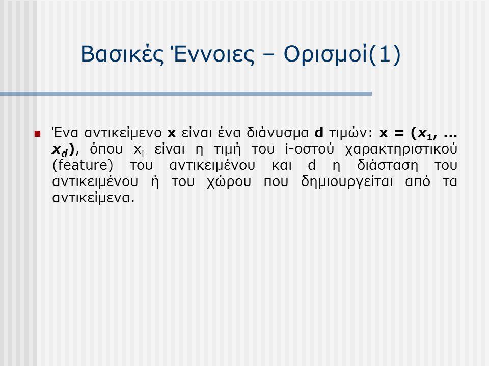 Βασικές Έννοιες – Ορισμοί(1) Ένα αντικείμενο x είναι ένα διάνυσμα d τιμών: x = (x 1,...