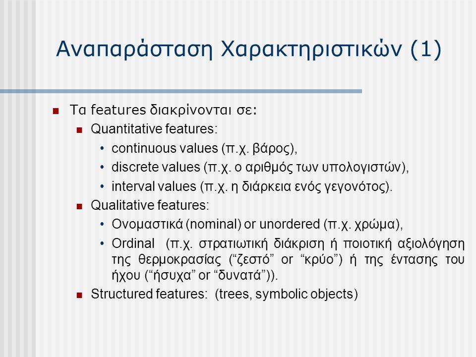 Αναπαράσταση Χαρακτηριστικών (1) Τα features διακρίνονται σε: Quantitative features: continuous values (π.χ.