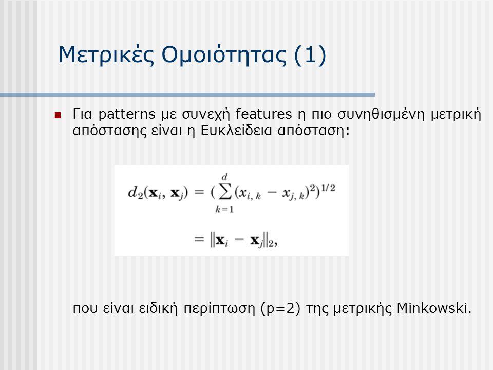 Μετρικές Ομοιότητας (1) Για patterns με συνεχή features η πιο συνηθισμένη μετρική απόστασης είναι η Ευκλείδεια απόσταση: που είναι ειδική περίπτωση (p=2) της μετρικής Minkowski.