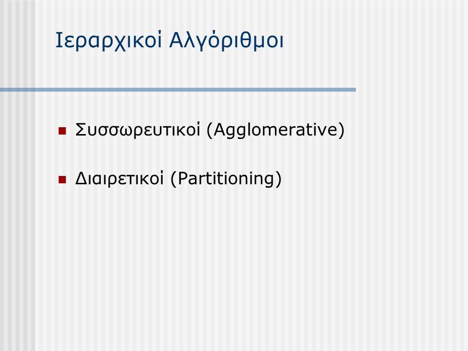 Ιεραρχικοί Αλγόριθμοι Συσσωρευτικοί (Agglomerative) Διαιρετικοί (Partitioning)