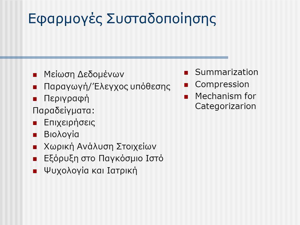 Εφαρμογές Συσταδοποίησης Μείωση Δεδομένων Παραγωγή/'Ελεγχος υπόθεσης Περιγραφή Παραδείγματα: Επιχειρήσεις Βιολογία Χωρική Ανάλυση Στοιχείων Εξόρυξη στο Παγκόσμιο Ιστό Ψυχολογία και Ιατρική Summarization Compression Mechanism for Categorizarion