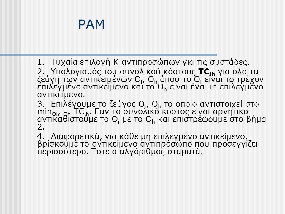 PAM 1. Τυχαία επιλογή Κ αντιπροσώπων για τις συστάδες.
