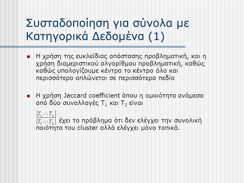 Συσταδοποίηση για σύνολα με Κατηγορικά Δεδομένα (1) Η χρήση της ευκλείδιας απόστασης προβληματική, και η χρήση διαμεριστικού αλγορίθμου προβληματική, καθώς καθώς υπολογίζουμε κέντρα το κέντρο όλο και περισσότερο απλώνεται σε περισσότερα πεδία Η χρήση Jaccard coefficient όπου η ομοιότητα ανάμεσα από δύο συναλλαγές T 1 και T 2 είναι έχει το πρόβλημα ότι δεν ελέγχει την συνολική ποιότητα του cluster αλλά ελέγχει μόνο τοπικά.