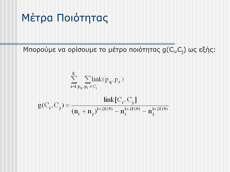 Μέτρα Ποιότητας Μπορούμε να ορίσουμε το μέτρο ποιότητας g(C i,C j ) ως εξής: