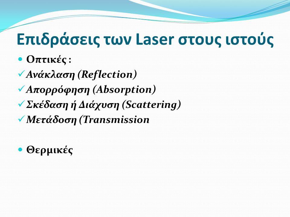 Επιδράσεις των Laser στους ιστούς Οπτικές : Ανάκλαση (Reflection) Απορρόφηση (Absorption) Σκέδαση ή Διάχυση (Scattering) Μετάδοση (Transmission Θερμικές