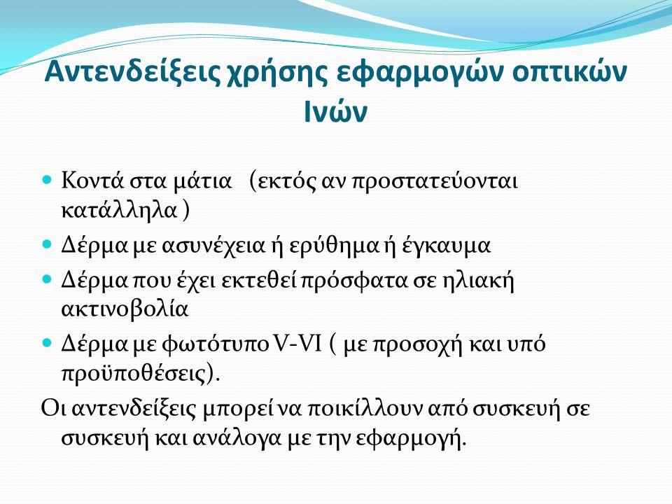 Αντενδείξεις χρήσης εφαρμογών οπτικών Ινών Κοντά στα μάτια (εκτός αν προστατεύονται κατάλληλα ) Δέρμα με ασυνέχεια ή ερύθημα ή έγκαυμα Δέρμα που έχει εκτεθεί πρόσφατα σε ηλιακή ακτινοβολία Δέρμα με φωτότυπο V-VI ( με προσοχή και υπό προϋποθέσεις).