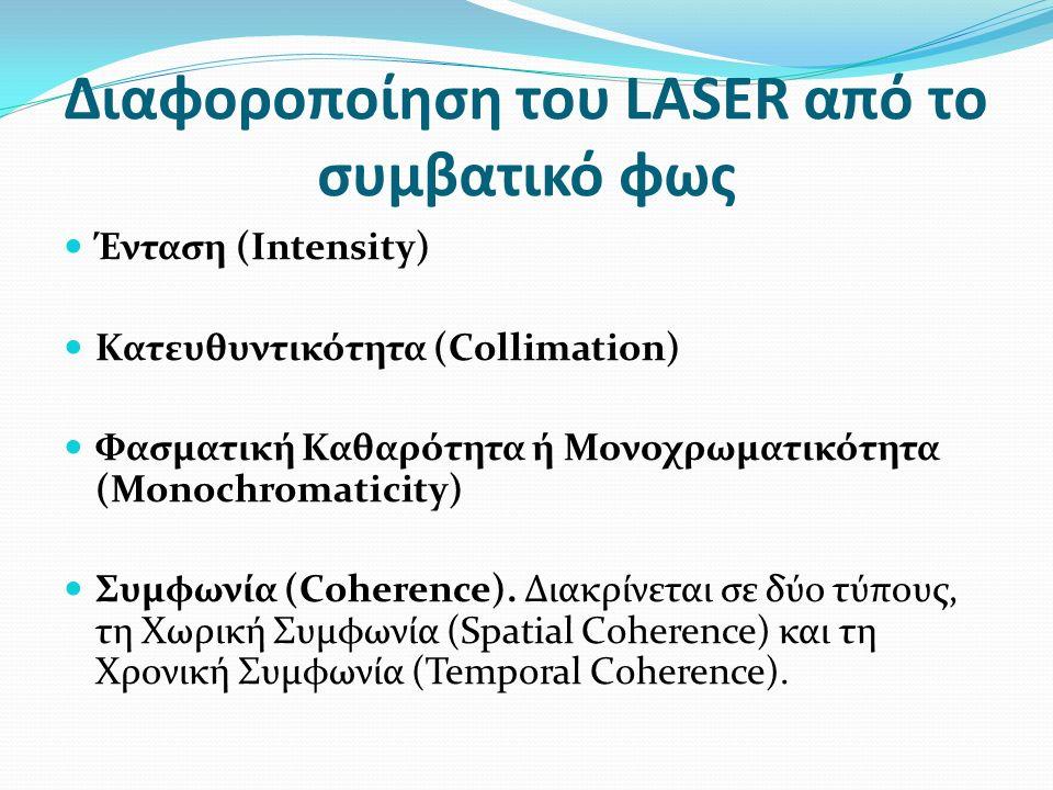 Διαφοροποίηση του LASER από το συμβατικό φως Ένταση (Intensity) Κατευθυντικότητα (Collimation) Φασματική Καθαρότητα ή Μονοχρωματικότητα (Monochromaticity) Συμφωνία (Coherence).