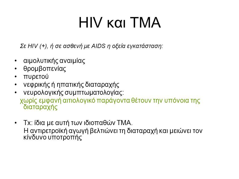 HIV και ΤΜΑ Σε HIV (+), ή σε ασθενή με AIDS η οξεία εγκατάσταση: αιμολυτικής αναιμίας θρομβοπενίας πυρετού νεφρικής ή ηπατικής διαταραχής νευρολογικής
