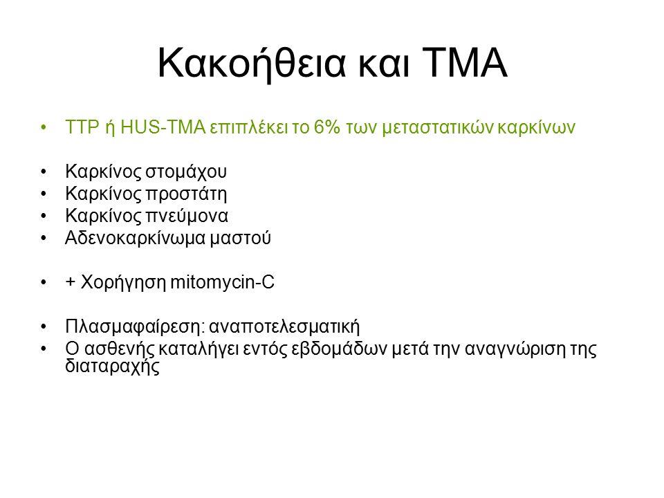 Κακοήθεια και ΤΜΑ TTP ή ΗUS-TMA επιπλέκει το 6% των μεταστατικών καρκίνων Καρκίνος στομάχου Καρκίνος προστάτη Καρκίνος πνεύμονα Αδενοκαρκίνωμα μαστού + Χορήγηση mitomycin-C Πλασμαφαίρεση: αναποτελεσματική Ο ασθενής καταλήγει εντός εβδομάδων μετά την αναγνώριση της διαταραχής