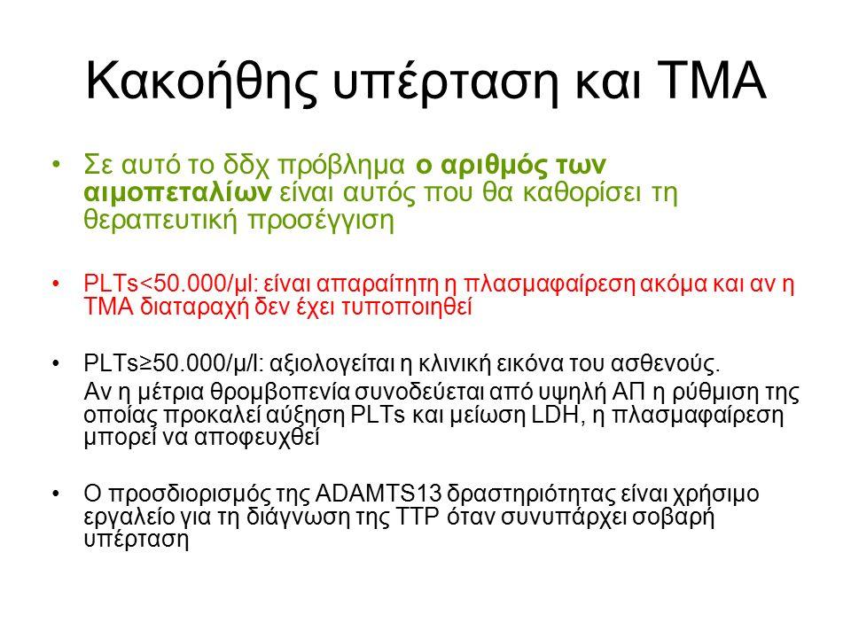 Κακοήθης υπέρταση και ΤΜΑ Σε αυτό το δδχ πρόβλημα ο αριθμός των αιμοπεταλίων είναι αυτός που θα καθορίσει τη θεραπευτική προσέγγιση PLTs<50.000/μl: είναι απαραίτητη η πλασμαφαίρεση ακόμα και αν η ΤΜΑ διαταραχή δεν έχει τυποποιηθεί PLTs≥50.000/μ/l: αξιολογείται η κλινική εικόνα του ασθενούς.
