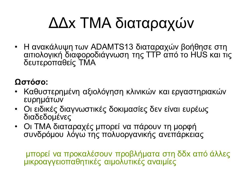 ΔΔx ΤΜΑ διαταραχών H ανακάλυψη των ADΑMTS13 διαταραχών βοήθησε στη αιτιολογική διαφοροδιάγνωση της TTP από το ΗUS και τις δευτεροπαθείς ΤΜΑ Ωστόσο: Καθυστερημένη αξιολόγηση κλινικών και εργαστηριακών ευρημάτων Οι ειδικές διαγνωστικές δοκιμασίες δεν είναι ευρέως διαδεδομένες Οι ΤΜΑ διαταραχές μπορεί να πάρουν τη μορφή συνδρόμου λόγω της πολυοργανικής ανεπάρκειας μπορεί να προκαλέσουν προβλήματα στη δδx από άλλες μικροαγγειοπαθητικές αιμολυτικές αναιμίες