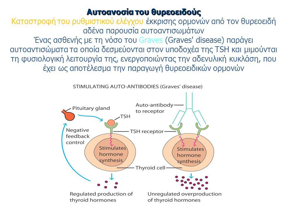 Αυτοανοσία του θυρεοειδούς Αυτοανοσία του θυρεοειδούς Καταστροφή του ρυθμιστικού ελέγχου έκκρισης ορμονών από τον θυρεοειδή αδένα παρουσία αυτοαντισωμάτων Ένας ασθενής με τη νόσο του Graves (Graves disease) παράγει αυτοαντισώματα τα οποία δεσμεύονται στον υποδοχέα της TSH και μιμούνται τη φυσιολογική λειτουργία της, ενεργοποιώντας την αδενυλική κυκλάση, που έχει ως αποτέλεσμα την παραγωγή θυρεοειδικών ορμονών
