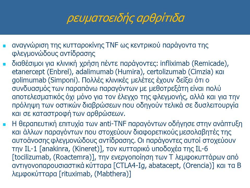 ρευματοειδής αρθρίτιδα αναγνώριση της κυτταροκίνης TNF ως κεντρικού παράγοντα της φλεγμονώδους αντίδρασης διαθέσιμοι για κλινική χρήση πέντε παράγοντες: infliximab (Remicade), etanercept (Enbrel), adalimumab (Humira), certolizumab (Cimzia) και golimumab (Simponi).