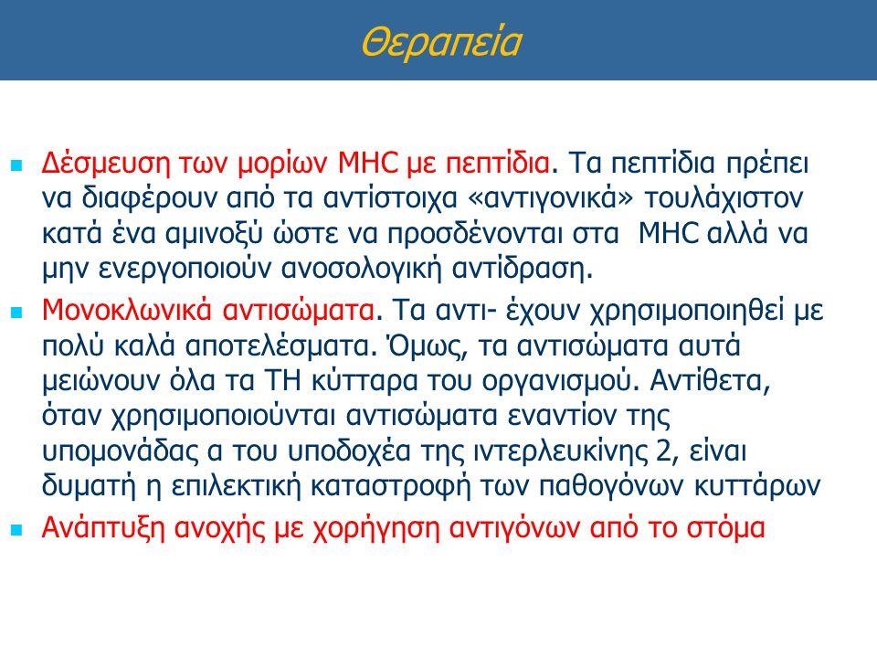 Θεραπεία Δέσμευση των μορίων MHC με πεπτίδια.