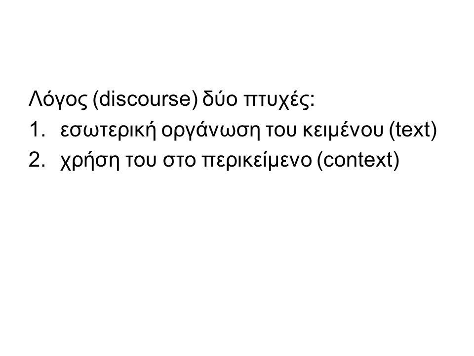 Λόγος (discourse) δύο πτυχές: 1.εσωτερική οργάνωση του κειμένου (text) 2.χρήση του στο περικείμενο (context)