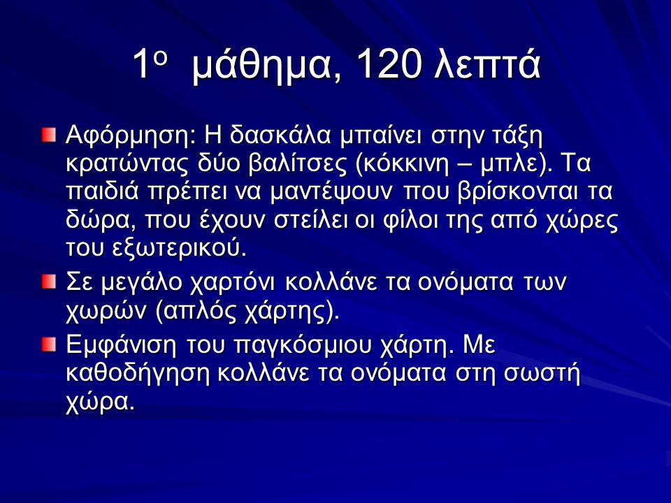 1 ο μάθημα, 120 λεπτά Αφόρμηση: Η δασκάλα μπαίνει στην τάξη κρατώντας δύο βαλίτσες (κόκκινη – μπλε).