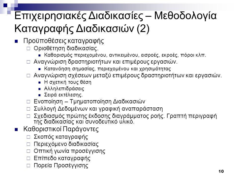 10 Επιχειρησιακές Διαδικασίες – Μεθοδολογία Καταγραφής Διαδικασιών (2) Προϋποθέσεις καταγραφής  Οριοθέτηση διαδικασίας.