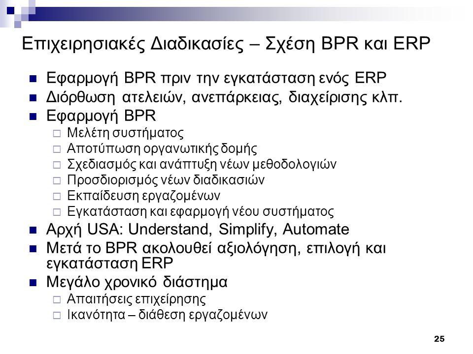 25 Επιχειρησιακές Διαδικασίες – Σχέση BPR και ERP Εφαρμογή BPR πριν την εγκατάσταση ενός ERP Διόρθωση ατελειών, ανεπάρκειας, διαχείρισης κλπ.
