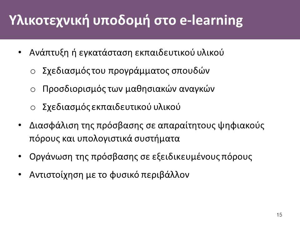 Υλικοτεχνική υποδομή στο e-learning Ανάπτυξη ή εγκατάσταση εκπαιδευτικού υλικού o Σχεδιασμός του προγράμματος σπουδών o Προσδιορισμός των μαθησιακών αναγκών o Σχεδιασμός εκπαιδευτικού υλικού Διασφάλιση της πρόσβασης σε απαραίτητους ψηφιακούς πόρους και υπολογιστικά συστήματα Οργάνωση της πρόσβασης σε εξειδικευμένους πόρους Αντιστοίχηση με το φυσικό περιβάλλον 15