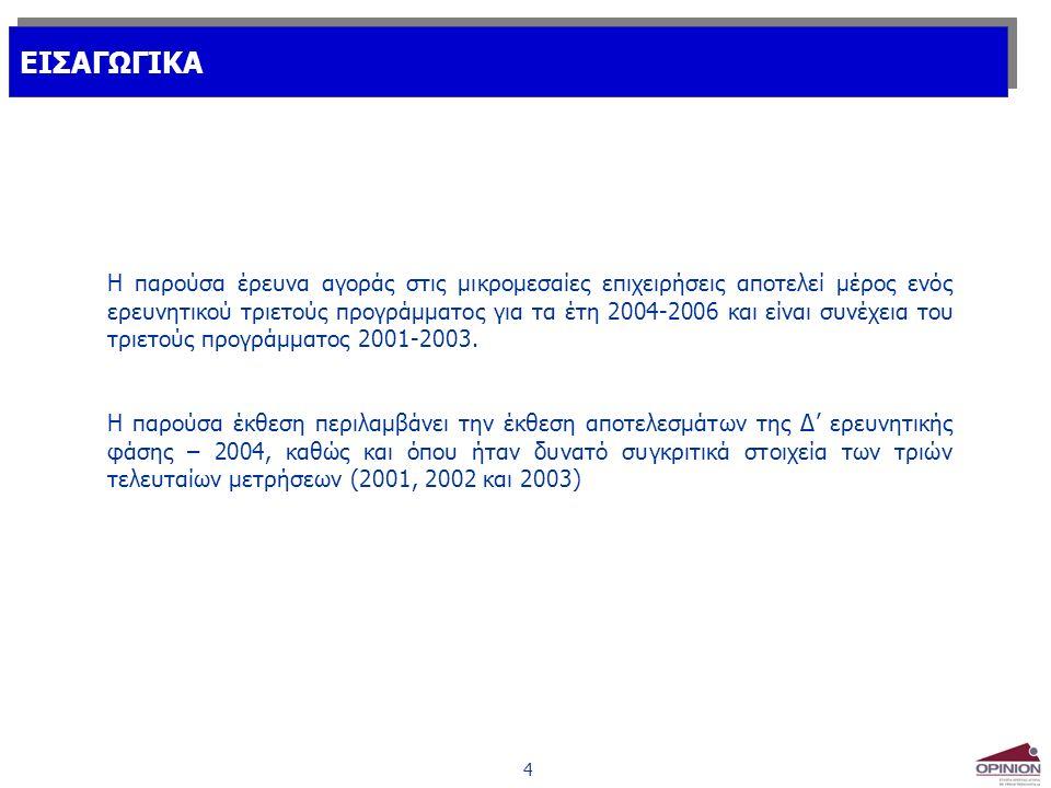 4 ΕΙΣΑΓΩΓΙΚΑ Η παρούσα έρευνα αγοράς στις μικρομεσαίες επιχειρήσεις αποτελεί μέρος ενός ερευνητικού τριετούς προγράμματος για τα έτη 2004-2006 και είναι συνέχεια του τριετούς προγράμματος 2001-2003.