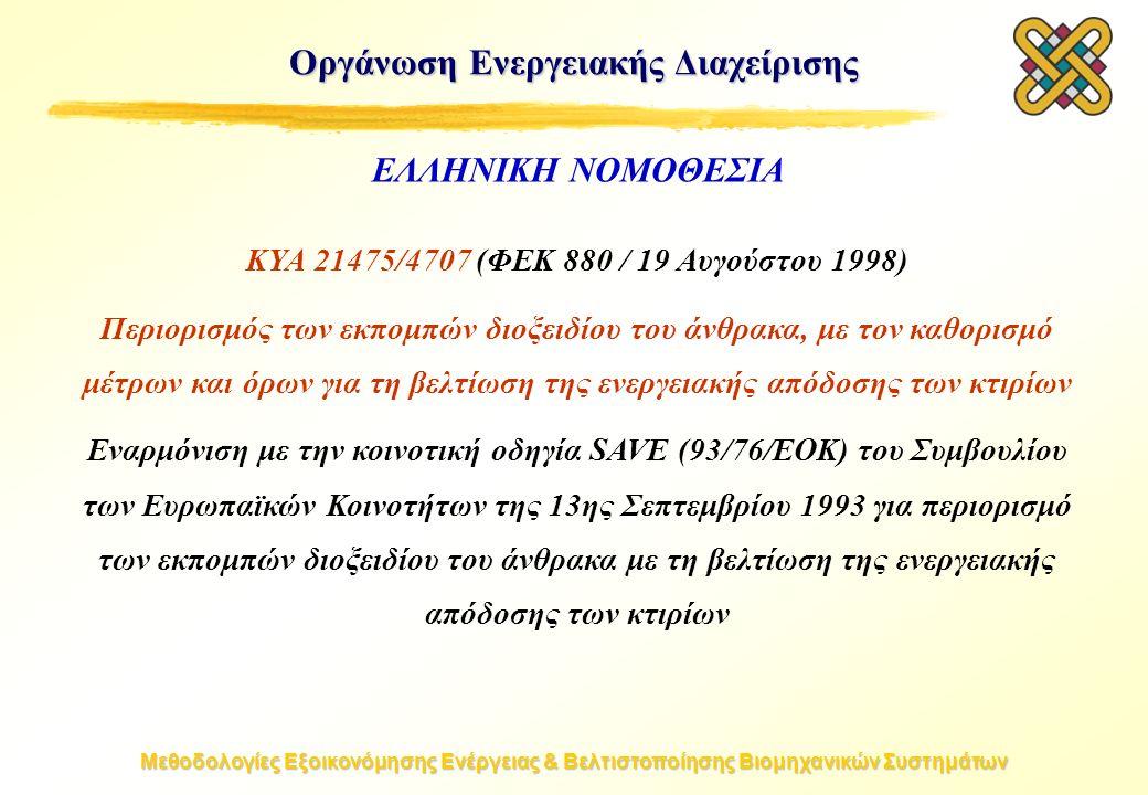 Μεθοδολογίες Εξοικονόμησης Ενέργειας & Βελτιστοποίησης Βιομηχανικών Συστημάτων Οργάνωση Ενεργειακής Διαχείρισης ΚΥΑ 21475/4707 (ΦΕΚ 880 / 19 Αυγούστου 1998) Περιορισμός των εκπομπών διοξειδίου του άνθρακα, με τον καθορισμό μέτρων και όρων για τη βελτίωση της ενεργειακής απόδοσης των κτιρίων Εναρμόνιση με την κοινοτική οδηγία SAVE (93/76/EOK) του Συμβουλίου των Ευρωπαϊκών Κοινοτήτων της 13ης Σεπτεμβρίου 1993 για περιορισμό των εκπομπών διοξειδίου του άνθρακα με τη βελτίωση της ενεργειακής απόδοσης των κτιρίων ΕΛΛΗΝΙΚΗ ΝΟΜΟΘΕΣΙΑ