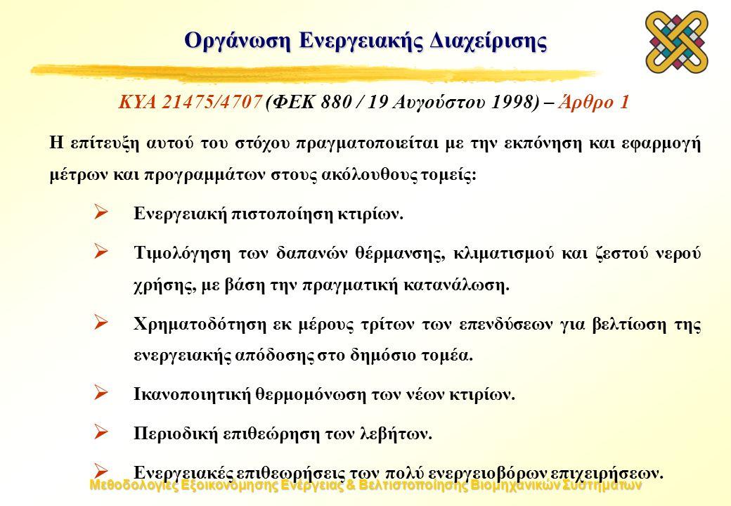 Μεθοδολογίες Εξοικονόμησης Ενέργειας & Βελτιστοποίησης Βιομηχανικών Συστημάτων Οργάνωση Ενεργειακής Διαχείρισης ΚΥΑ 21475/4707 (ΦΕΚ 880 / 19 Αυγούστου 1998) – Άρθρο 1 H επίτευξη αυτού του στόχου πραγματοποιείται με την εκπόνηση και εφαρμογή μέτρων και προγραμμάτων στους ακόλουθους τομείς:  Ενεργειακή πιστοποίηση κτιρίων.