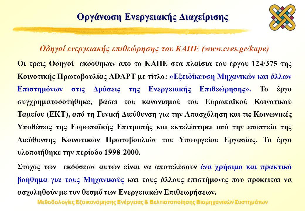 Μεθοδολογίες Εξοικονόμησης Ενέργειας & Βελτιστοποίησης Βιομηχανικών Συστημάτων Οδηγοί ενεργειακής επιθεώρησης του ΚΑΠΕ (www.cres.gr/kape) Οι τρεις Οδηγοί εκδόθηκαν από το ΚΑΠΕ στα πλαίσια του έργου 124/375 της Κοινοτικής Πρωτοβουλίας ADAPT µε τίτλο: «Εξειδίκευση Μηχανικών και άλλων Επιστηµόνων στις Δράσεις της Ενεργειακής Επιθεώρησης».