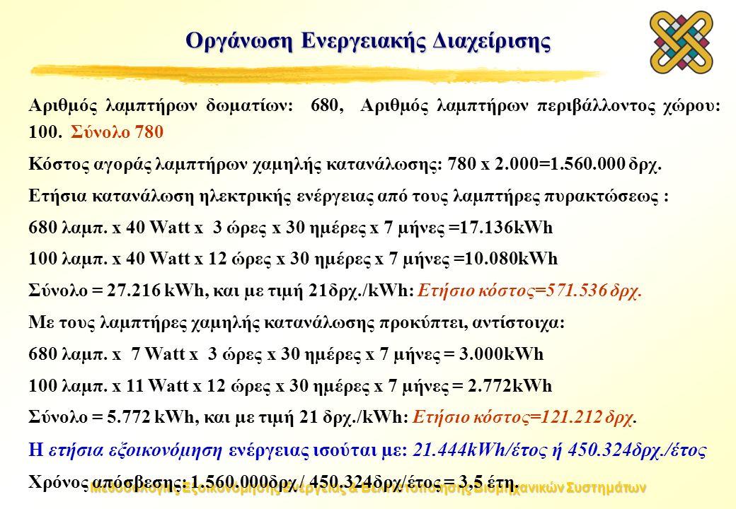 Μεθοδολογίες Εξοικονόμησης Ενέργειας & Βελτιστοποίησης Βιομηχανικών Συστημάτων Οργάνωση Ενεργειακής Διαχείρισης Αριθµός λαµπτήρων δωµατίων: 680, Αριθµ
