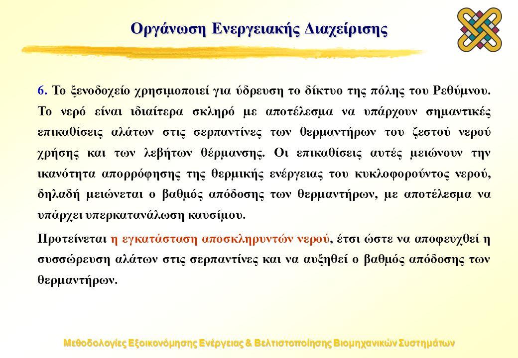 Μεθοδολογίες Εξοικονόμησης Ενέργειας & Βελτιστοποίησης Βιομηχανικών Συστημάτων Οργάνωση Ενεργειακής Διαχείρισης 6.