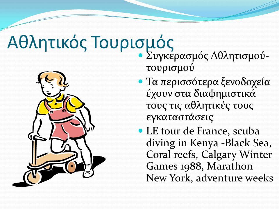 Αθλητικός Τουρισμός Συγκερασμός Αθλητισμού- τουρισμού Τα περισσότερα ξενοδοχεία έχουν στα διαφημιστικά τους τις αθλητικές τους εγκαταστάσεις LE tour de France, scuba diving in Kenya -Black Sea, Coral reefs, Calgary Winter Games 1988, Marathon New York, adventure weeks