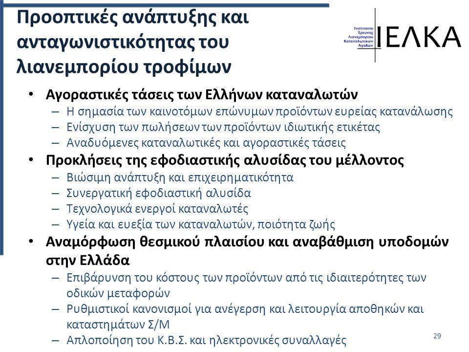Προοπτικές ανάπτυξης και ανταγωνιστικότητας του λιανεμπορίου τροφίμων Αγοραστικές τάσεις των Ελλήνων καταναλωτών – Η σημασία των καινοτόμων επώνυμων προϊόντων ευρείας κατανάλωσης – Ενίσχυση των πωλήσεων των προϊόντων ιδιωτικής ετικέτας – Αναδυόμενες καταναλωτικές και αγοραστικές τάσεις Προκλήσεις της εφοδιαστικής αλυσίδας του μέλλοντος – Βιώσιμη ανάπτυξη και επιχειρηματικότητα – Συνεργατική εφοδιαστική αλυσίδα – Τεχνολογικά ενεργοί καταναλωτές – Υγεία και ευεξία των καταναλωτών, ποιότητα ζωής Αναμόρφωση θεσμικού πλαισίου και αναβάθμιση υποδομών στην Ελλάδα – Επιβάρυνση του κόστους των προϊόντων από τις ιδιαιτερότητες των οδικών μεταφορών – Ρυθμιστικοί κανονισμοί για ανέγερση και λειτουργία αποθηκών και καταστημάτων Σ/Μ – Απλοποίηση του Κ.Β.Σ.