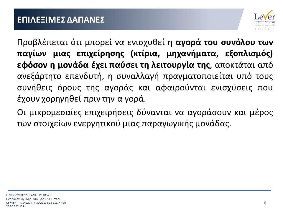 20 LEVER ΣΥΜΒΟΥΛΟΙ ΑΝΑΠΤΥΞΗΣ Α.Ε.Θεσσαλονίκη 26 ης Οκτωβρίου 43, Limani Center, Τ.Κ.