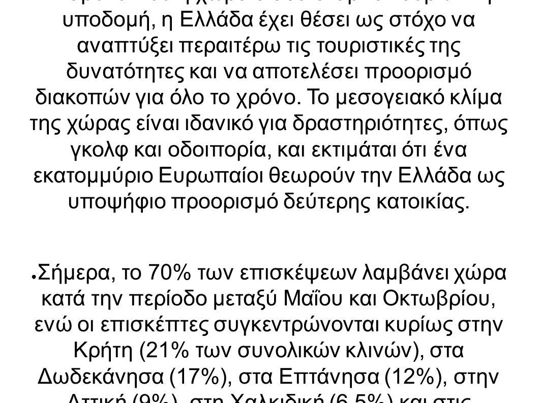 ● Παρόλο που η χώρα διαθέτει άρτια τουριστική υποδομή, η Ελλάδα έχει θέσει ως στόχο να αναπτύξει περαιτέρω τις τουριστικές της δυνατότητες και να αποτελέσει προορισμό διακοπών για όλο το χρόνο.