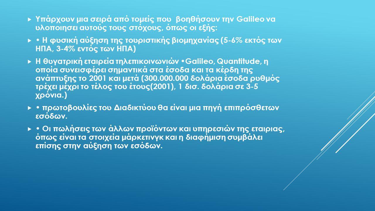  Υπάρχουν μια σειρά από τομείς που βοηθήσουν την Galileo να υλοποιησει αυτούς τους στόχους, όπως οι εξής:  Η φυσική αύξηση της τουριστικής βιομηχανίας (5-6% εκτός των ΗΠΑ, 3-4% εντός των ΗΠΑ)  Η θυγατρική εταιρεία τηλεπικοινωνιών Galileo, Quantitude, η οποία συνεισφέρει σημαντικά στα έσοδα και τα κέρδη της ανάπτυξης το 2001 και μετά (300.000.000 δολάρια έσοδα ρυθμός τρέχει μέχρι το τέλος του έτους(2001), 1 δισ.