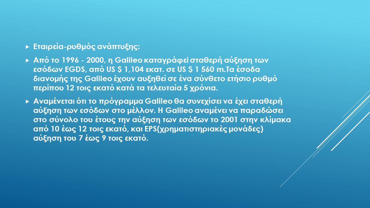  Εταιρεία-ρυθμός ανάπτυξης:  Από το 1996 - 2000, η Galileo καταγράφεi σταθερή αύξηση των εσόδων EGDS, από US $ 1,104 εκατ. σε US $ 1 560 m.Tα έσοδα