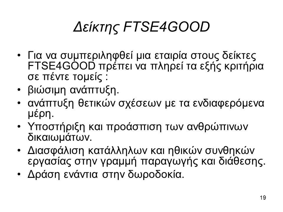 Δείκτης FTSE4GOOD Για να συμπεριληφθεί μια εταιρία στους δείκτες FTSE4GOOD πρέπει να πληρεί τα εξής κριτήρια σε πέντε τομείς : βιώσιμη ανάπτυξη.