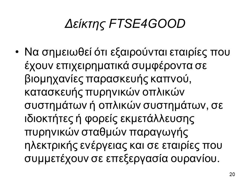Δείκτης FTSE4GOOD Να σημειωθεί ότι εξαιρούνται εταιρίες που έχουν επιχειρηματικά συμφέροντα σε βιομηχανίες παρασκευής καπνού, κατασκευής πυρηνικών οπλικών συστημάτων ή οπλικών συστημάτων, σε ιδιοκτήτες ή φορείς εκμετάλλευσης πυρηνικών σταθμών παραγωγής ηλεκτρικής ενέργειας και σε εταιρίες που συμμετέχουν σε επεξεργασία ουρανίου.
