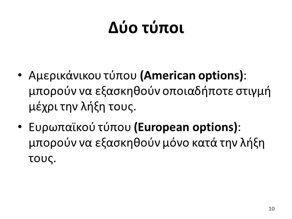 Δύο τύποι Αμερικάνικου τύπου (American options): μπορούν να εξασκηθούν οποιαδήποτε στιγμή μέχρι την λήξη τους.