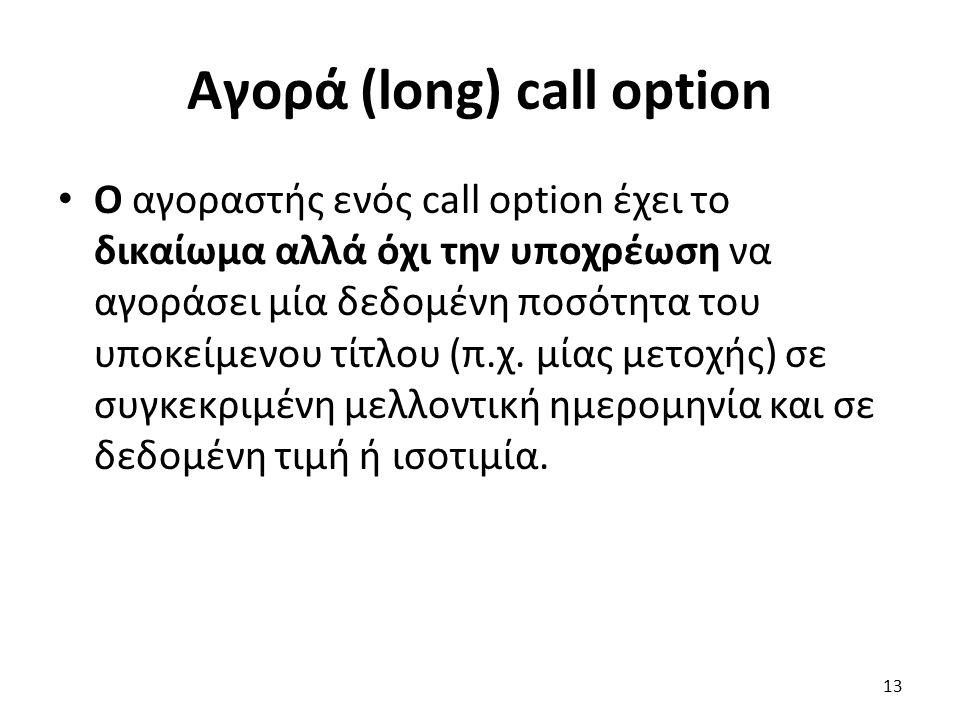 Αγορά (long) call option Ο αγοραστής ενός call option έχει το δικαίωμα αλλά όχι την υποχρέωση να αγοράσει μία δεδομένη ποσότητα του υποκείμενου τίτλου (π.χ.