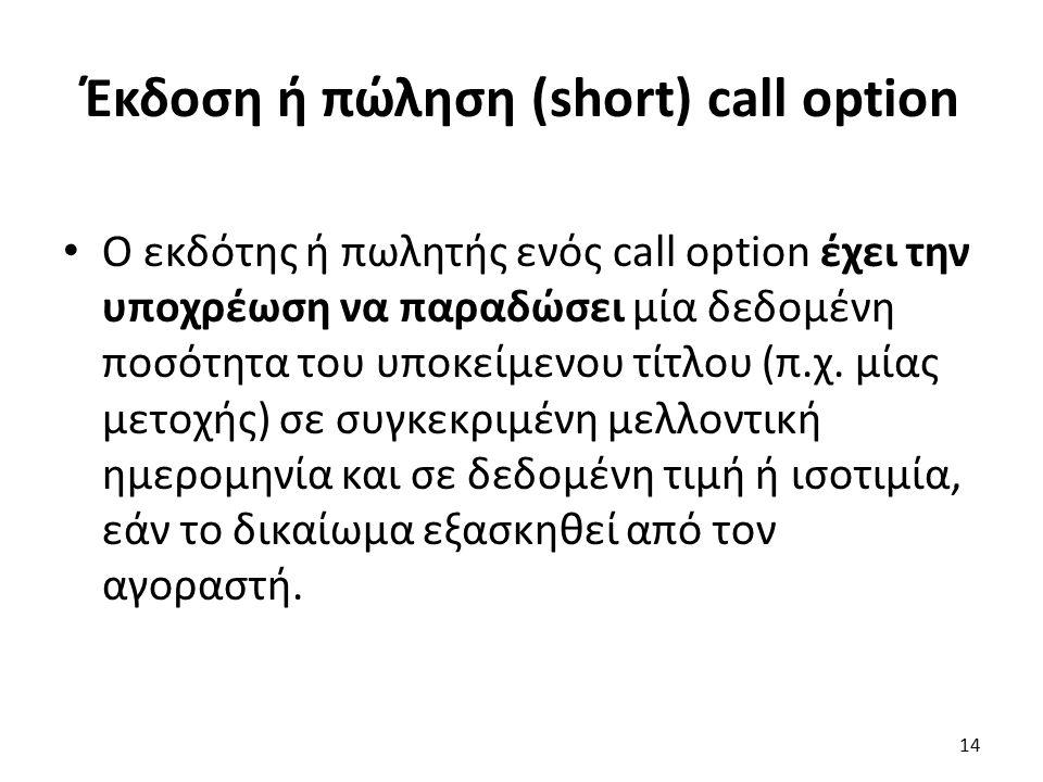 Έκδοση ή πώληση (short) call option Ο εκδότης ή πωλητής ενός call option έχει την υποχρέωση να παραδώσει μία δεδομένη ποσότητα του υποκείμενου τίτλου (π.χ.
