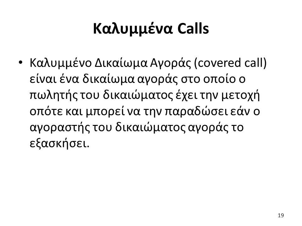 Καλυμμένα Calls Καλυμμένο Δικαίωμα Αγοράς (covered call) είναι ένα δικαίωμα αγοράς στο οποίο ο πωλητής του δικαιώματος έχει την μετοχή οπότε και μπορεί να την παραδώσει εάν ο αγοραστής του δικαιώματος αγοράς το εξασκήσει.