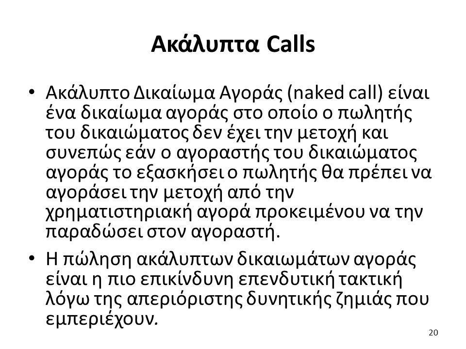 Ακάλυπτα Calls Ακάλυπτο Δικαίωμα Αγοράς (naked call) είναι ένα δικαίωμα αγοράς στο οποίο ο πωλητής του δικαιώματος δεν έχει την μετοχή και συνεπώς εάν ο αγοραστής του δικαιώματος αγοράς το εξασκήσει ο πωλητής θα πρέπει να αγοράσει την μετοχή από την χρηματιστηριακή αγορά προκειμένου να την παραδώσει στον αγοραστή.