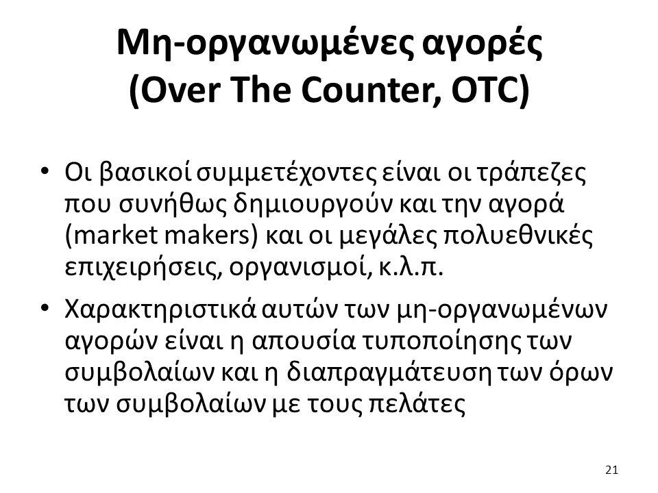 Μη-οργανωμένες αγορές (Over The Counter, OTC) Οι βασικοί συμμετέχοντες είναι οι τράπεζες που συνήθως δημιουργούν και την αγορά (market makers) και οι μεγάλες πολυεθνικές επιχειρήσεις, οργανισμοί, κ.λ.π.