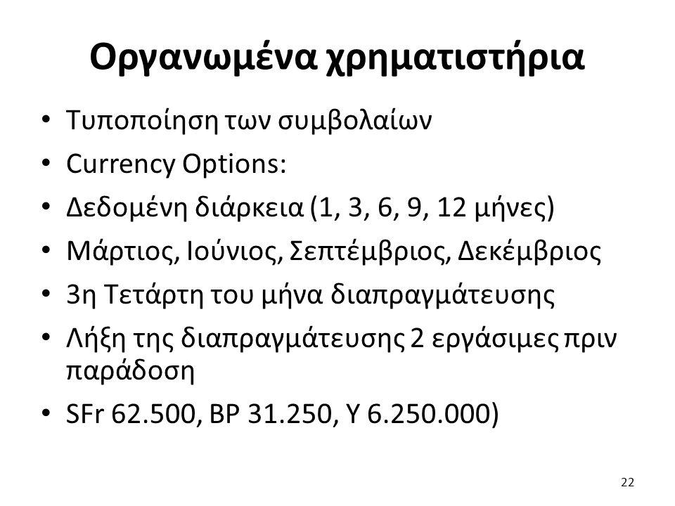 Οργανωμένα χρηματιστήρια Τυποποίηση των συμβολαίων Currency Options: Δεδομένη διάρκεια (1, 3, 6, 9, 12 μήνες) Μάρτιος, Ιούνιος, Σεπτέμβριος, Δεκέμβριος 3η Τετάρτη του μήνα διαπραγμάτευσης Λήξη της διαπραγμάτευσης 2 εργάσιμες πριν παράδοση SFr 62.500, BP 31.250, Y 6.250.000) 22