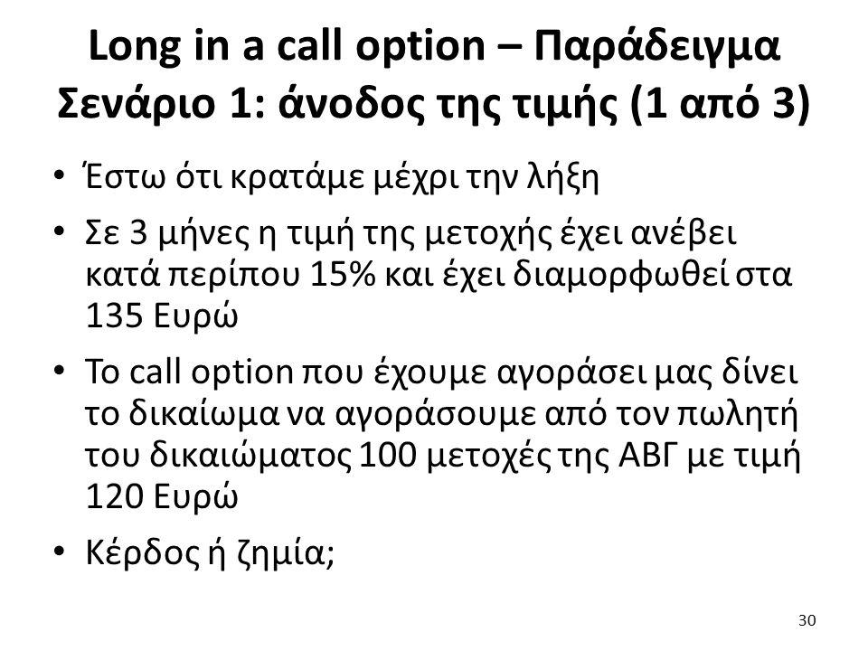 Long in a call option – Παράδειγμα Σενάριο 1: άνοδος της τιμής (1 από 3) Έστω ότι κρατάμε μέχρι την λήξη Σε 3 μήνες η τιμή της μετοχής έχει ανέβει κατά περίπου 15% και έχει διαμορφωθεί στα 135 Ευρώ Το call option που έχουμε αγοράσει μας δίνει το δικαίωμα να αγοράσουμε από τον πωλητή του δικαιώματος 100 μετοχές της ΑΒΓ με τιμή 120 Ευρώ Κέρδος ή ζημία; 30
